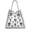 Alexander McQueen黑白色经典骷髅头帆布购物袋