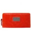 爱思卡达橘红色牛皮简约长款女士钱包