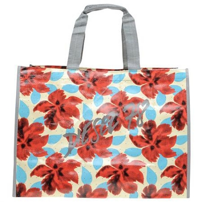 迪赛象牙色叶纹印花LOGO环保购物袋